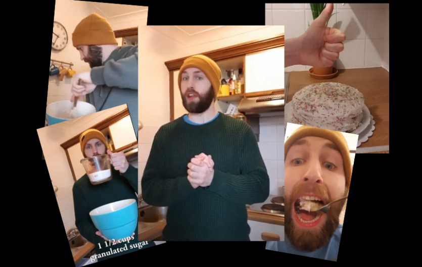 Montage of the article's author, Aidan Greene, baking a cake