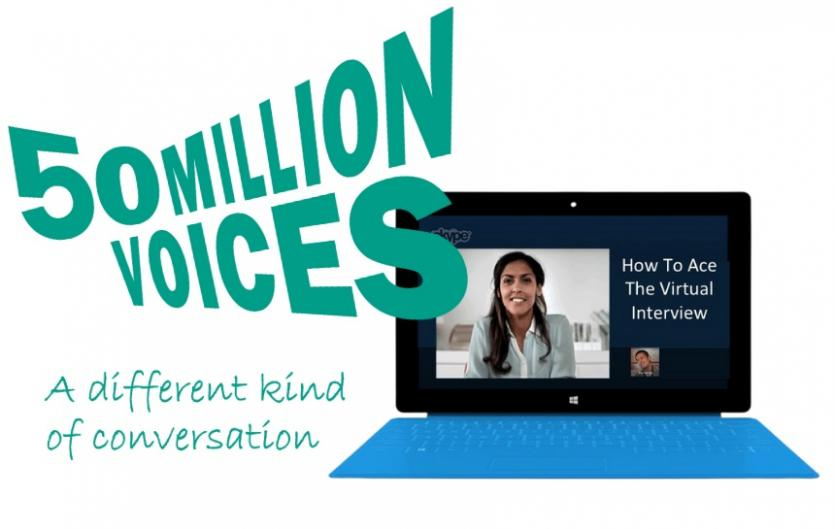 A video call on a laptop, with the logo 50 Million Voices over the top