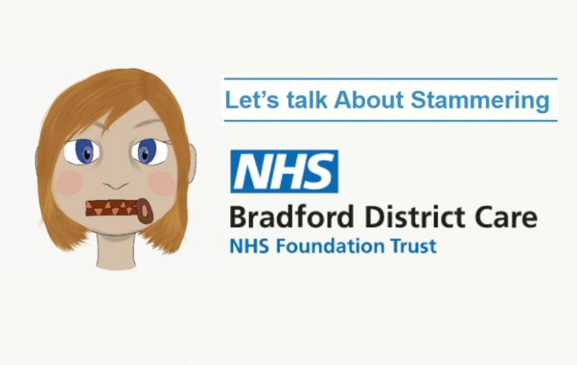 A drawing of a lady with a zip as a mouth, with the title 'Let's talk about stammering', Bradford NHS