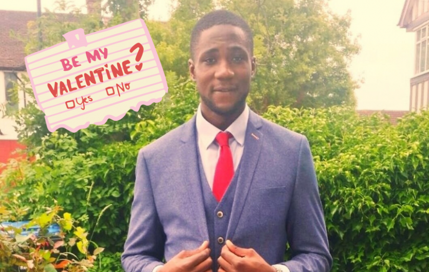 "The author in a suit, looking at the camera. A mock-up of a piece of paper saying ""Be my Valentine"" with tickboxes saying 'yes' and 'no'."""
