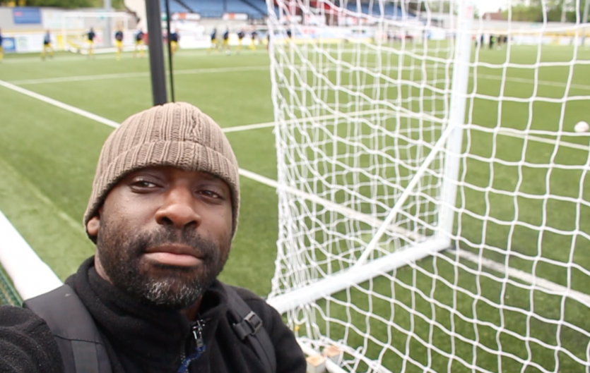 Tobrise Chinosa: selfie at a football ground during training