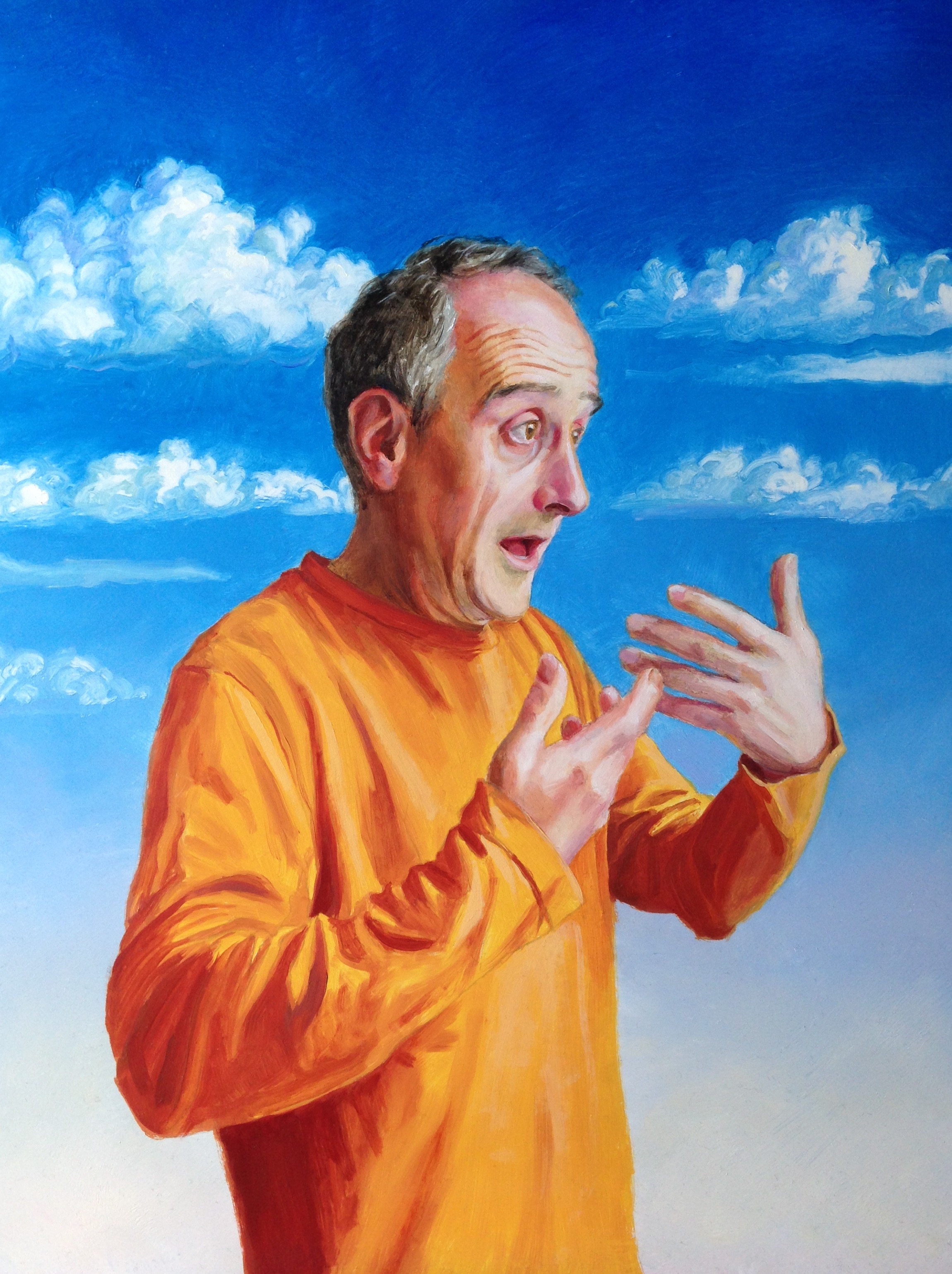 Artwork of a man whilst stammering, by Paul Aston