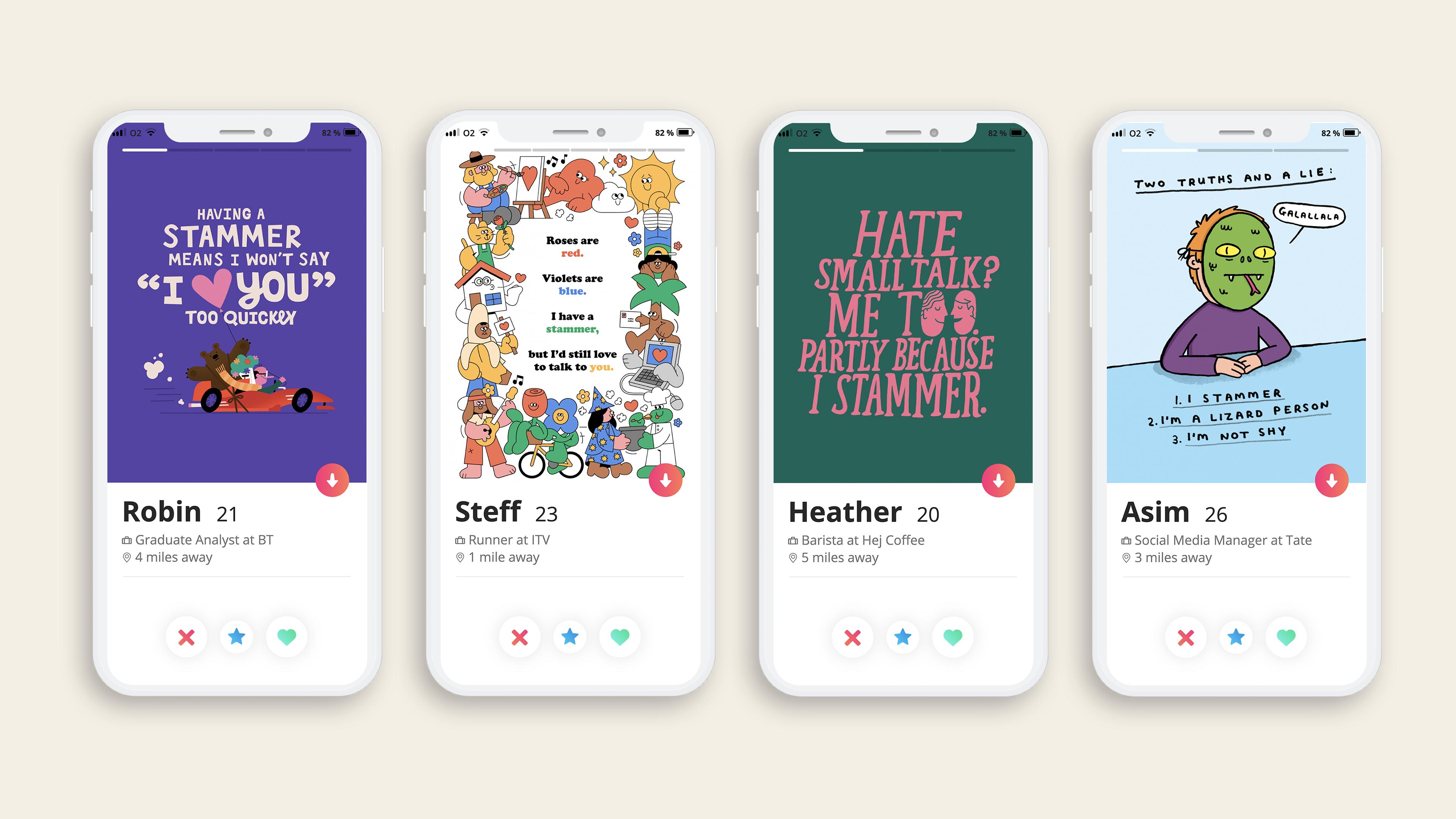 Our set of dating app cards available to download