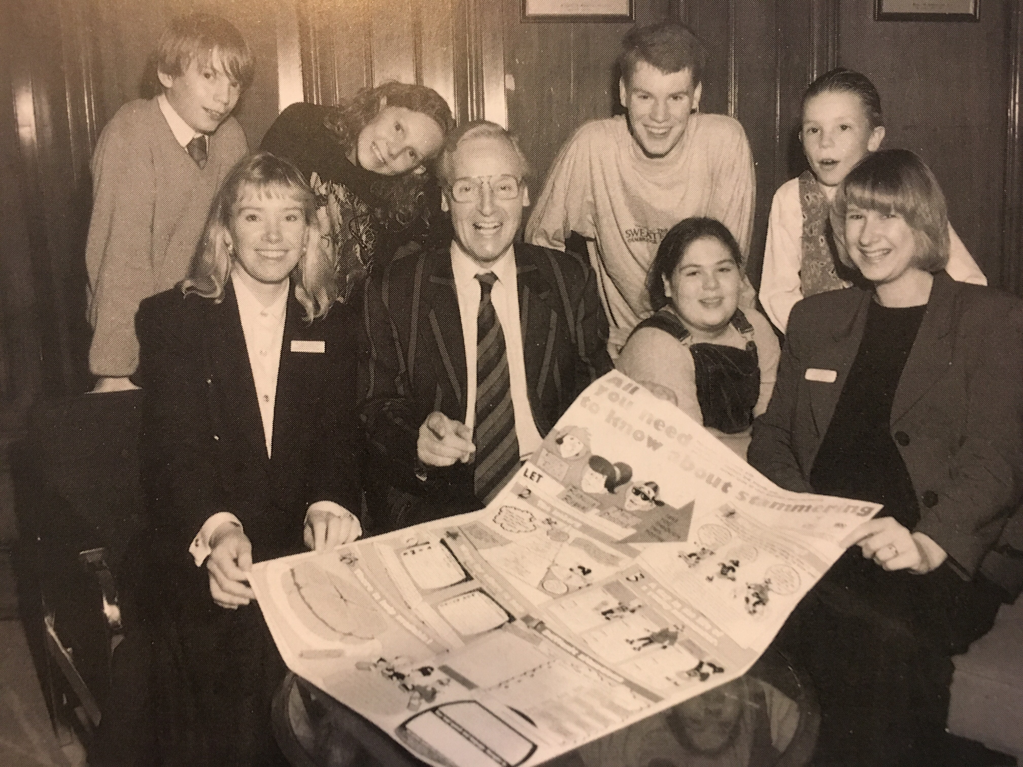 Nicholas Parsons launching our first colour children's poster, 1995
