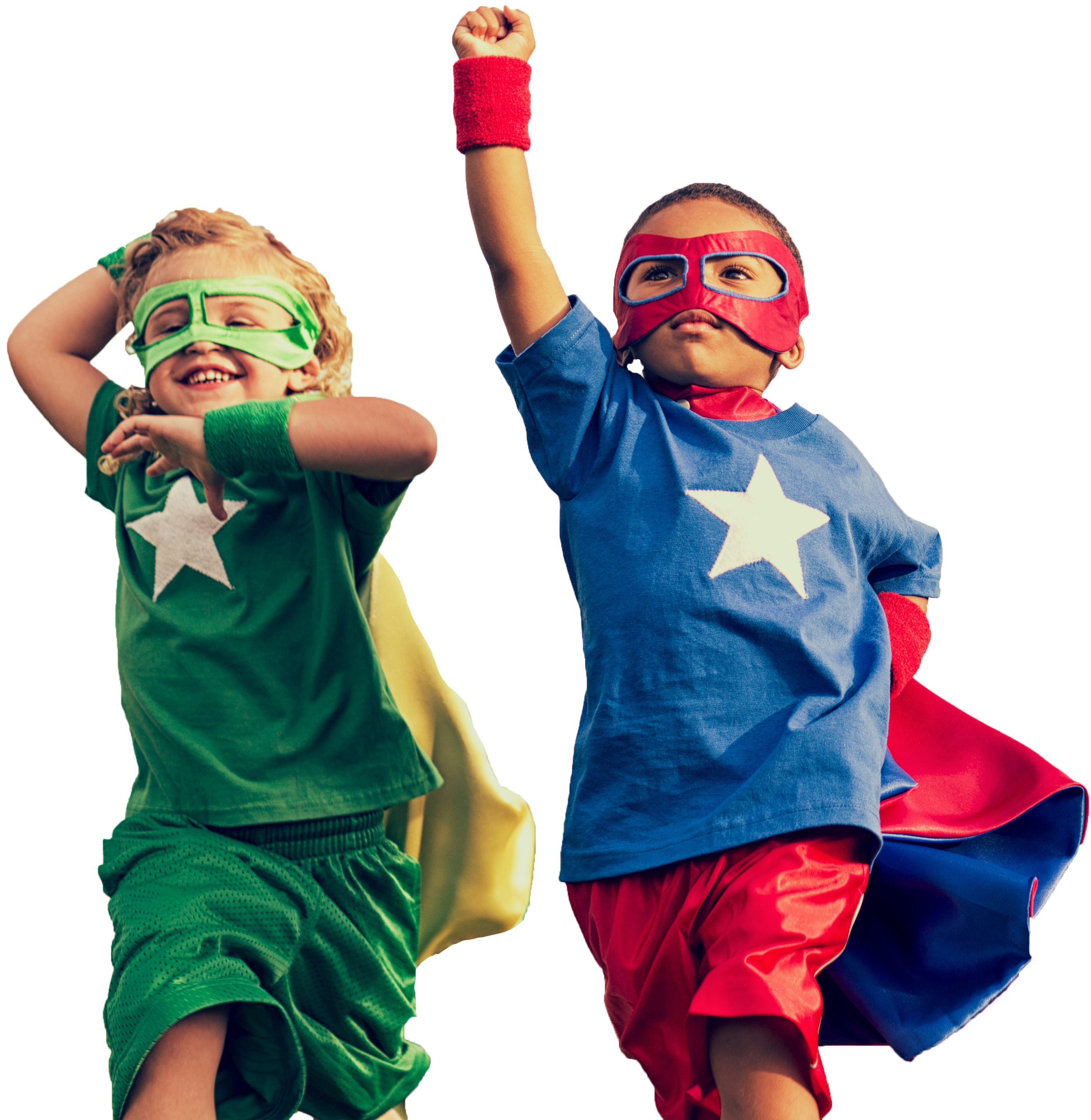 Two young children dressed as superheroes
