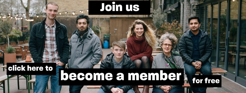 Group shot of Stamma members, with text saying 'Become a member for free'